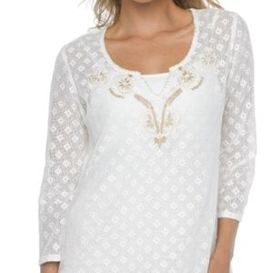 $65 NWT Prana White Embroidered Winnie Top S